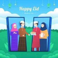 Eid Adha Mubarak Virtual Gathering with Phones Concept vector