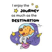 Cute puppy astronaut cartoon poster vector template