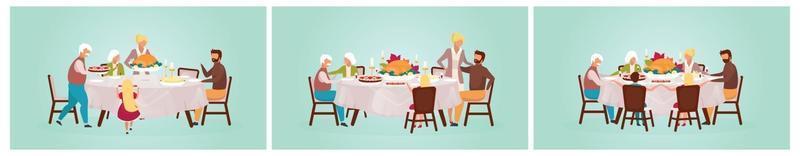 Thanksgiving day flat vector illustration set