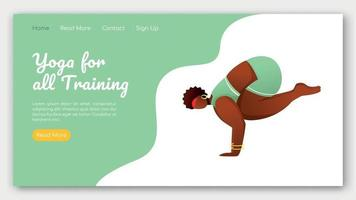 Yoga for all training landing page vector template