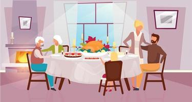 Thanksgiving day flat vector illustration