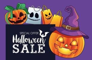 halloween sale seasonal poster with pumpkins wearing witch hat and shopping bags vector