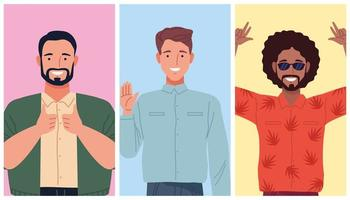 perfectly imperfect three persons comic characters vector