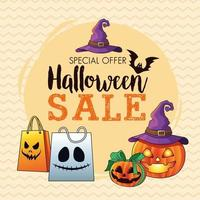halloween sale seasonal poster with pumpkins wearing witch hat and shopping bags lettering vector