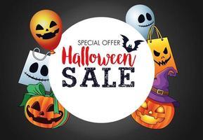 halloween sale seasonal poster with circular frame and set items vector