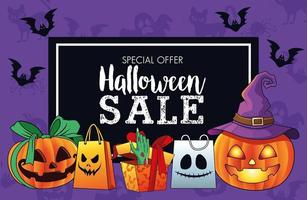 halloween sale seasonal poster with death hand coming out of gift and pumpkins vector