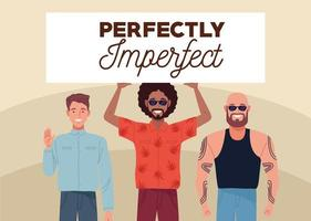 perfectly imperfect three persons lifting banner vector