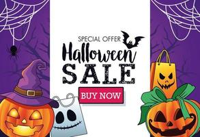 halloween sale seasonal poster with pumpkins wearing witch hat and shopping bags frame vector
