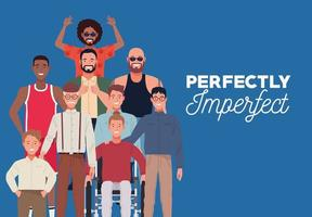 perfectly imperfect people group characters in blue background vector
