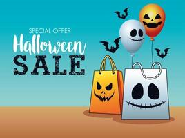 halloween sale seasonal poster with shopping bags and balloons helium vector
