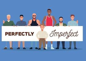 perfectly imperfect people group characters lifting banner vector