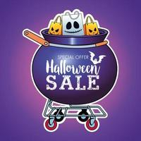 halloween sale seasonal poster with shopping bags in cauldron cart vector