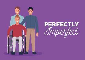 perfectly imperfect three persons in purple background vector