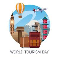 world tourism day lettering celebration with balloons air hot and monuments vector