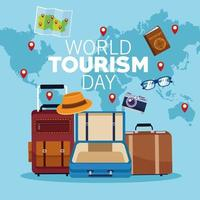 world tourism day lettering celebration with earth maps and set icons vector