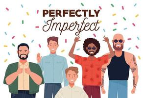 perfectly imperfect people group characters with confetti vector