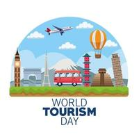 world tourism day lettering celebration with van and monuments vector
