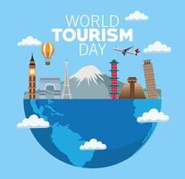 world tourism day lettering celebration with earth planet half and monuments vector