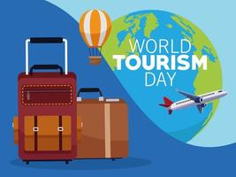 world tourism day lettering celebration with earth planet and set icons vector