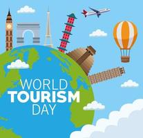 world tourism day lettering celebration with earth planet and monuments vector