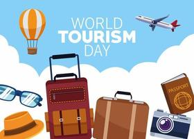 world tourism day lettering celebration with set traveling icons vector