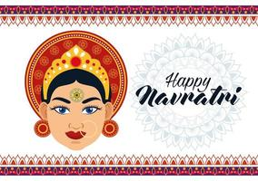 happy navratri celebration card with beautiful goddess and lettering vector