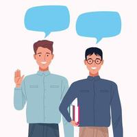 perfectly imperfect couple men with speech bubbles characters vector