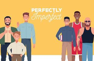 perfectly imperfect people group characters in yellow background vector