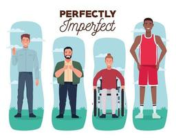 perfectly imperfect people group characters with white background vector