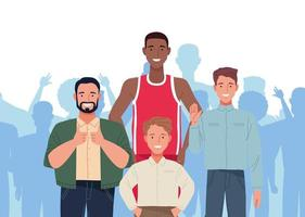 perfectly imperfect people group scene vector