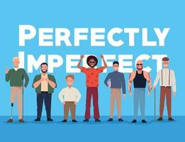 perfectly imperfect people group characters with lettering in blue background vector
