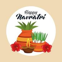 happy navratri celebration card with houseplants and candles vector