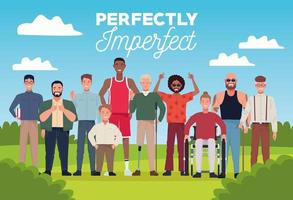 perfectly imperfect people group characters in the camp scene vector