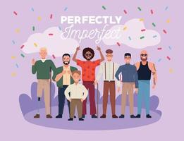 perfectly imperfect people group characters with confetti in the camp vector