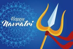 Feliz tarjeta de celebración navratri con tridente y letras vector