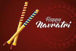 happy navratri celebration card with sticks vector