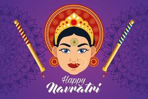 happy navratri celebration card with beautiful goddess and sticks vector