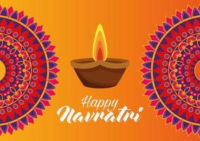 happy navratri celebration card with candle and mandalas vector