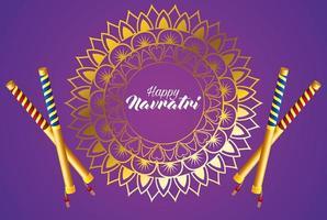 happy navratri celebration card with sticks and golden mandala vector