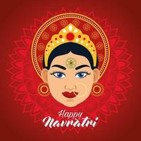 happy navratri celebration card with beautiful goddess in red background vector
