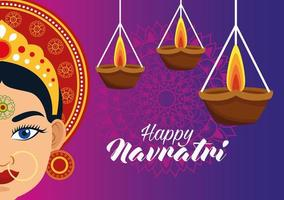happy navratri celebration card with beautiful goddess and candles vector