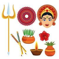 happy navratri celebration card with set icons vector