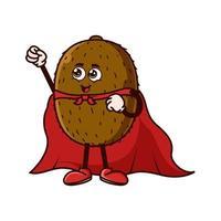 Cute Kiwi fruit character with Super hero costume vector