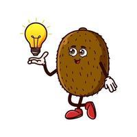 Cute Kiwi Fruit character with light bulb Idea on hand vector