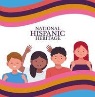 Celebración de la herencia nacional hispana con personajes de personas y bandera. vector