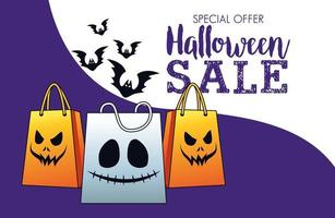 halloween sale seasonal poster with shopping bags and bats flying vector