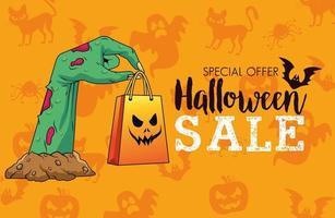halloween sale seasonal poster with death hand lifting shopping bag vector