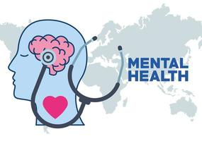 mental health day human profile and heart and stethoscope vector