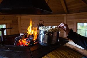 Popcorn by a fire photo