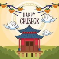 happy chuseok celebration with chinese building in landscape vector